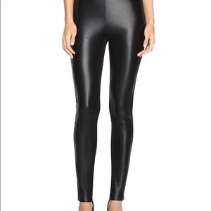Faux Leather panel skinny pants